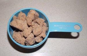 measured sugar clumps