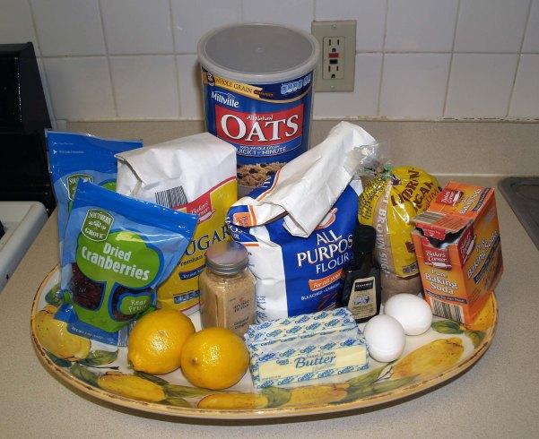lemon cranberry oatmeal cookie ingredients