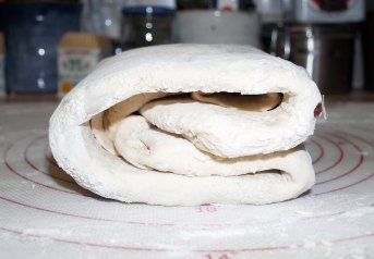 side view of folded dough