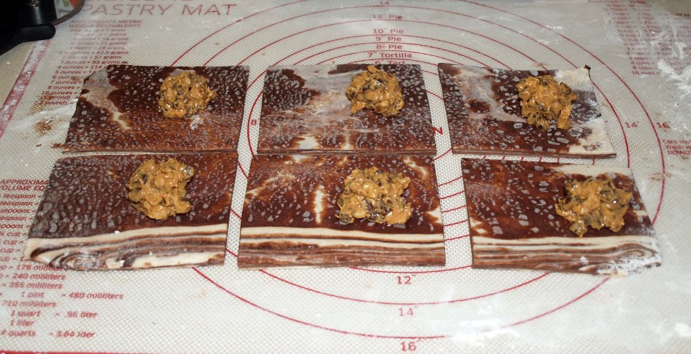 dough rectangles with filling