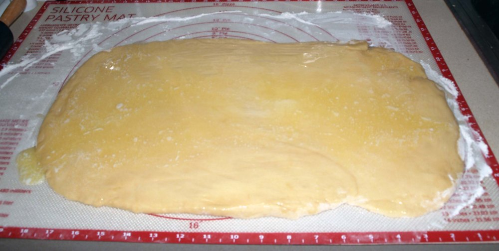 dough rectangle with butter