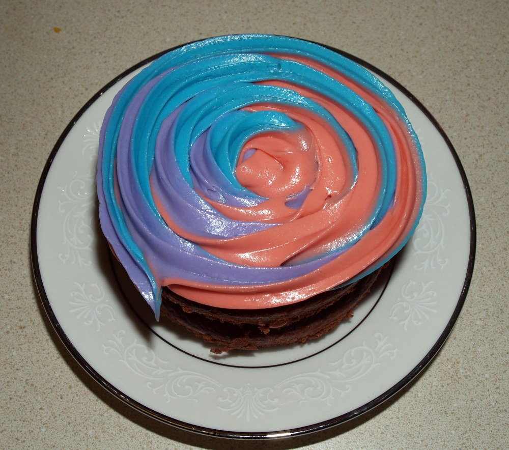 mini cake with color swirl