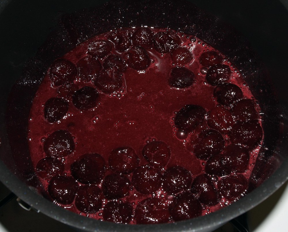 cherries with sugar and cornstarch