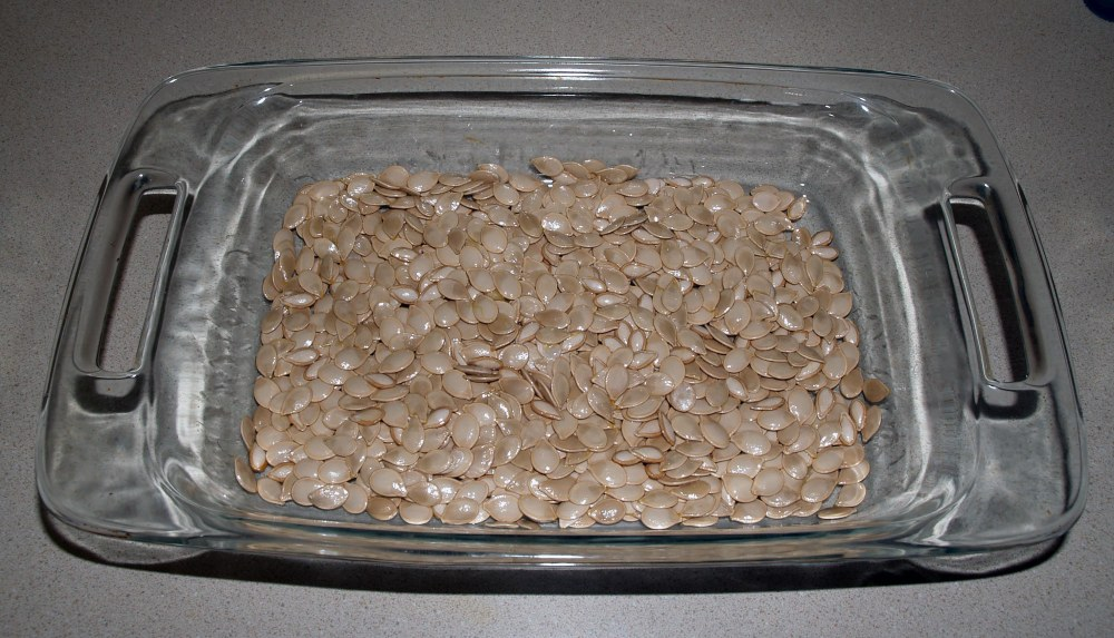 pumpkin seeds ready to bake