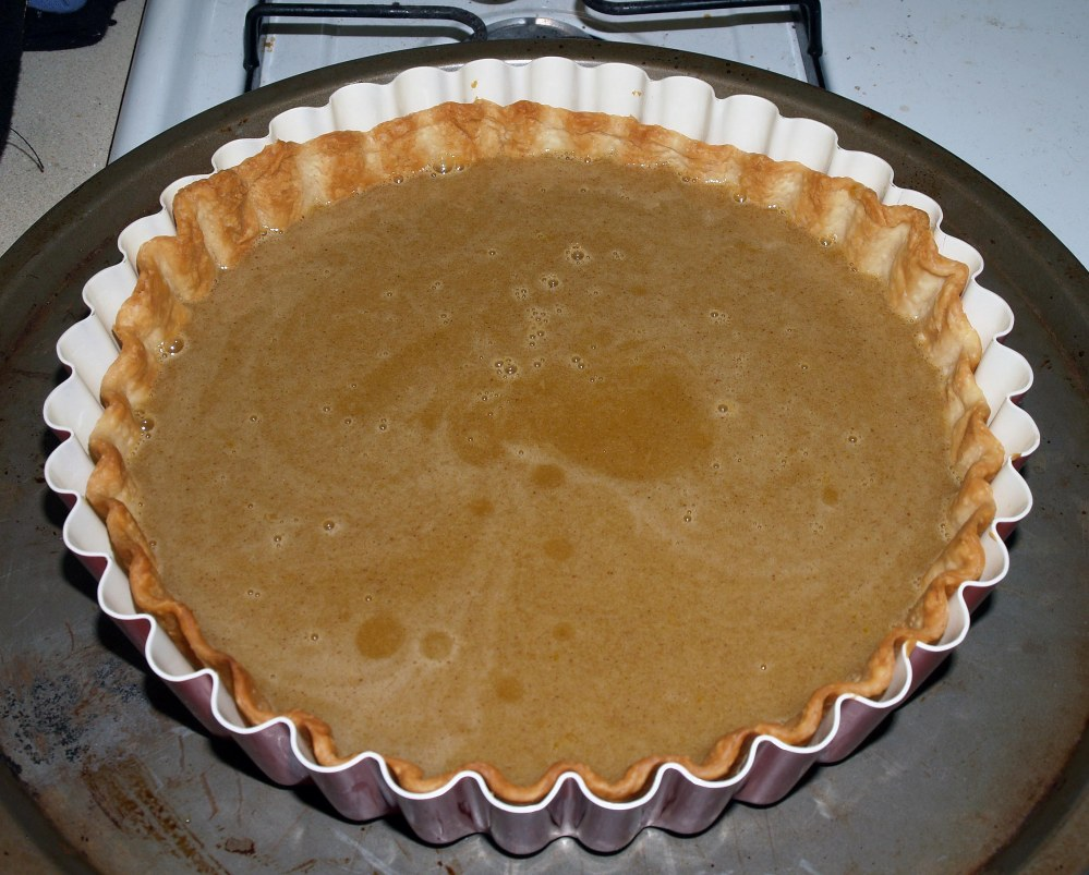 unbaked custard in crust