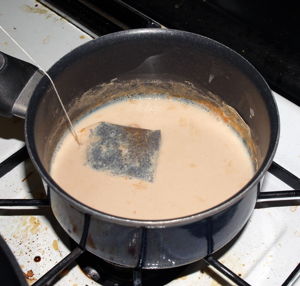 Tea Bag Steeping in Milk