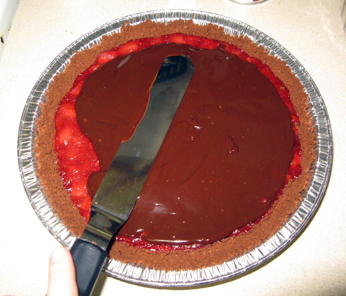 Spreading Ganache on Pie