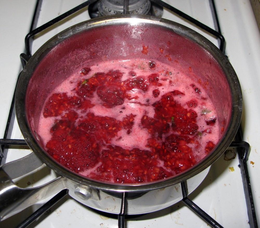 Boiling Mint Raspberry Sauce