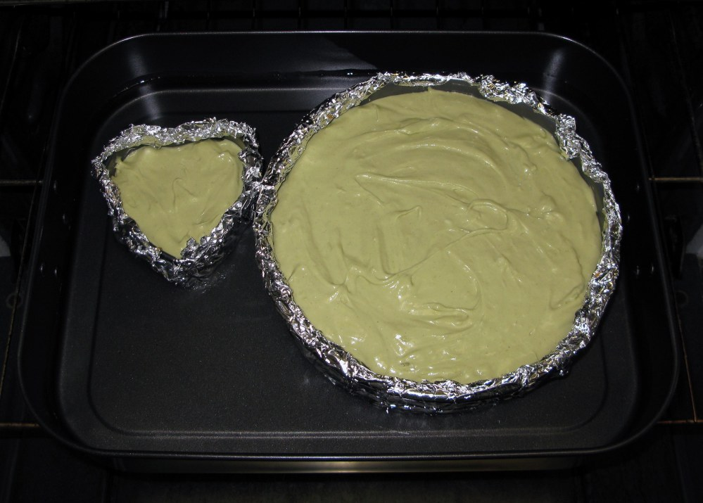 Green Tea Cheesecakes in Waterbath