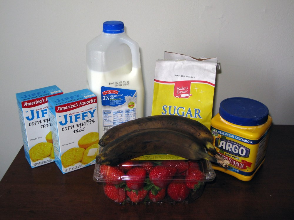 Strawberry Banana Cornbread Ingredients