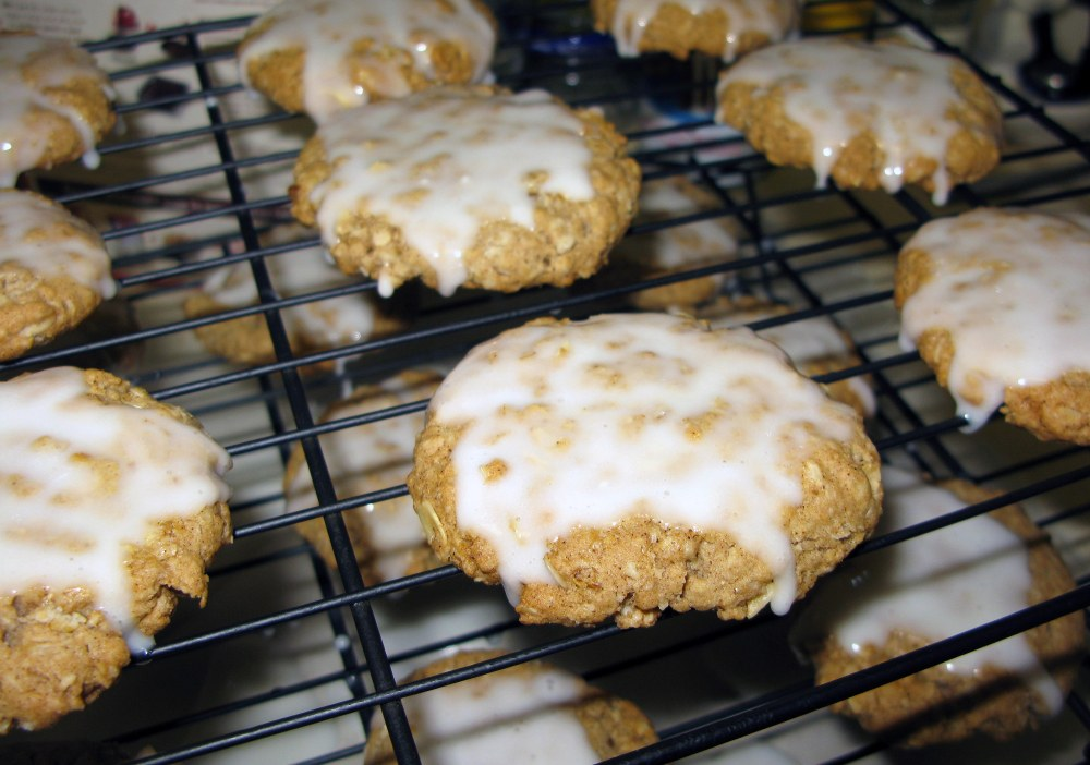 Iced Oatmeal Cookies Before Hardening