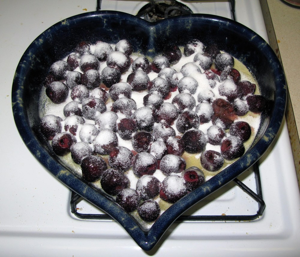 Clafoutis Cherry and Sugar Layer
