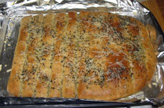 Garlic Herb Breadsticks with Parmesan Herb Topping (Baked)