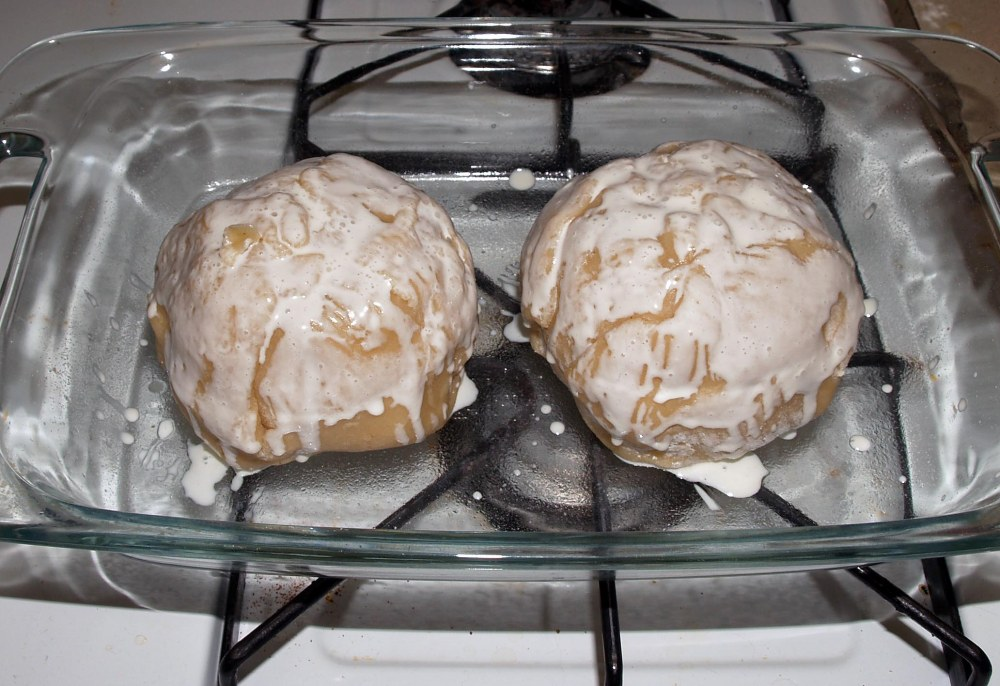 Apple Dumplings Brushed with Cream