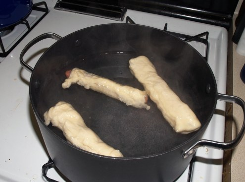 Bagel Dogs at Beginning of Boiling
