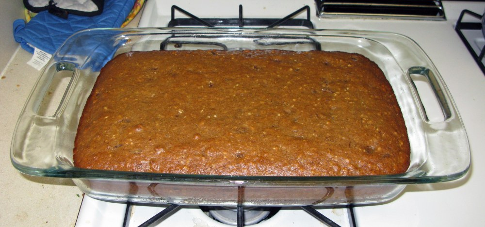 Date Walnut Cake After Baking