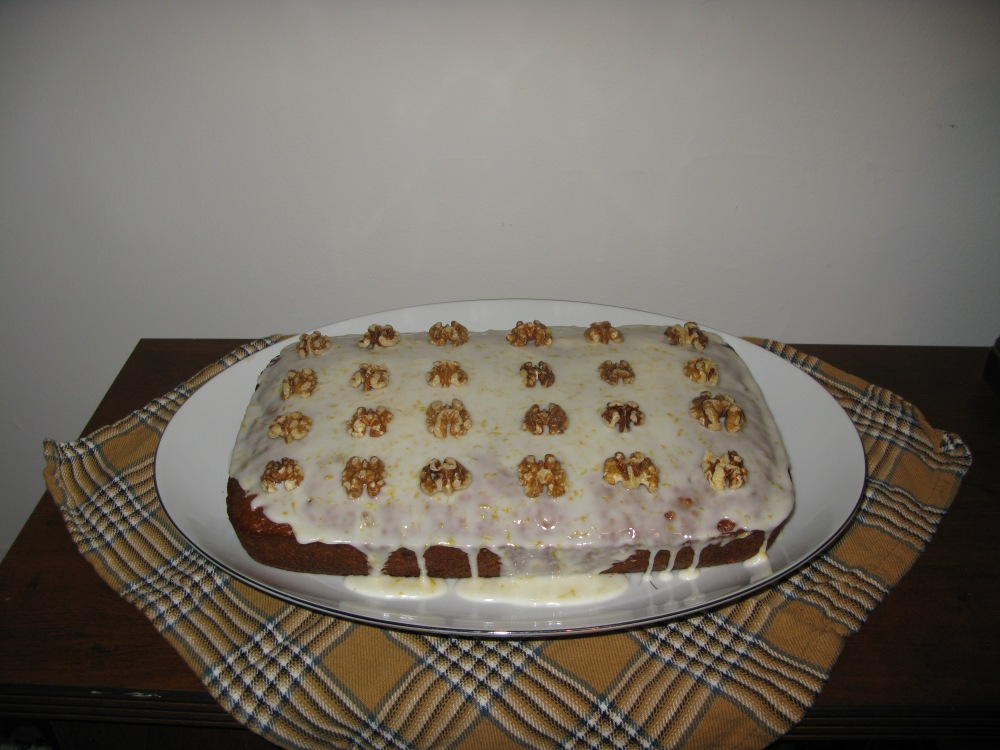 Decorated Date and Walnut Cake