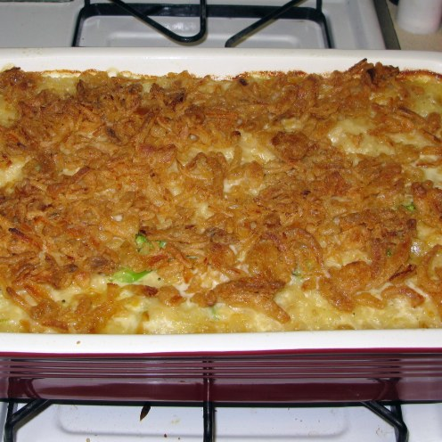 Finished Cheesy Broccoli Rice Casserole