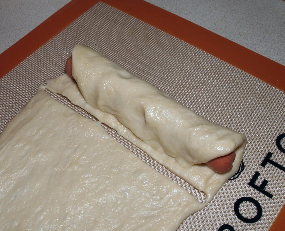 Hot Dog Wrapped in Bagel Dough