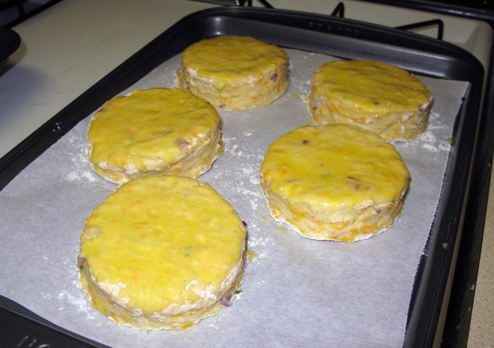 Cheddar and Chive Scones with Egg Wash