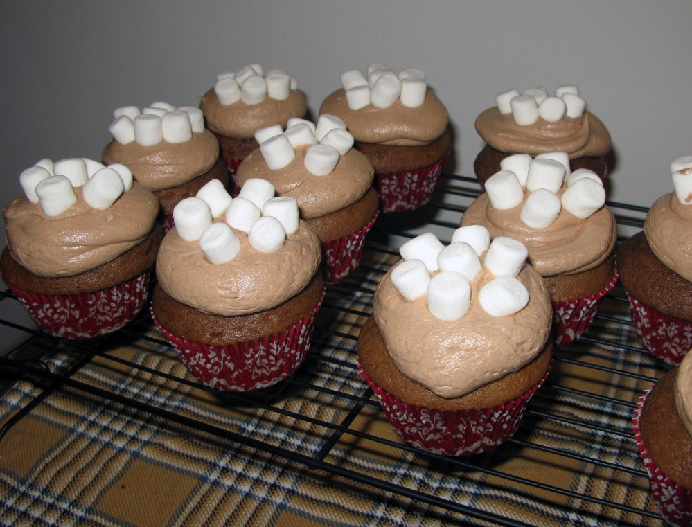 Hot Chocolate Cupcakes with Mini Marshmallows