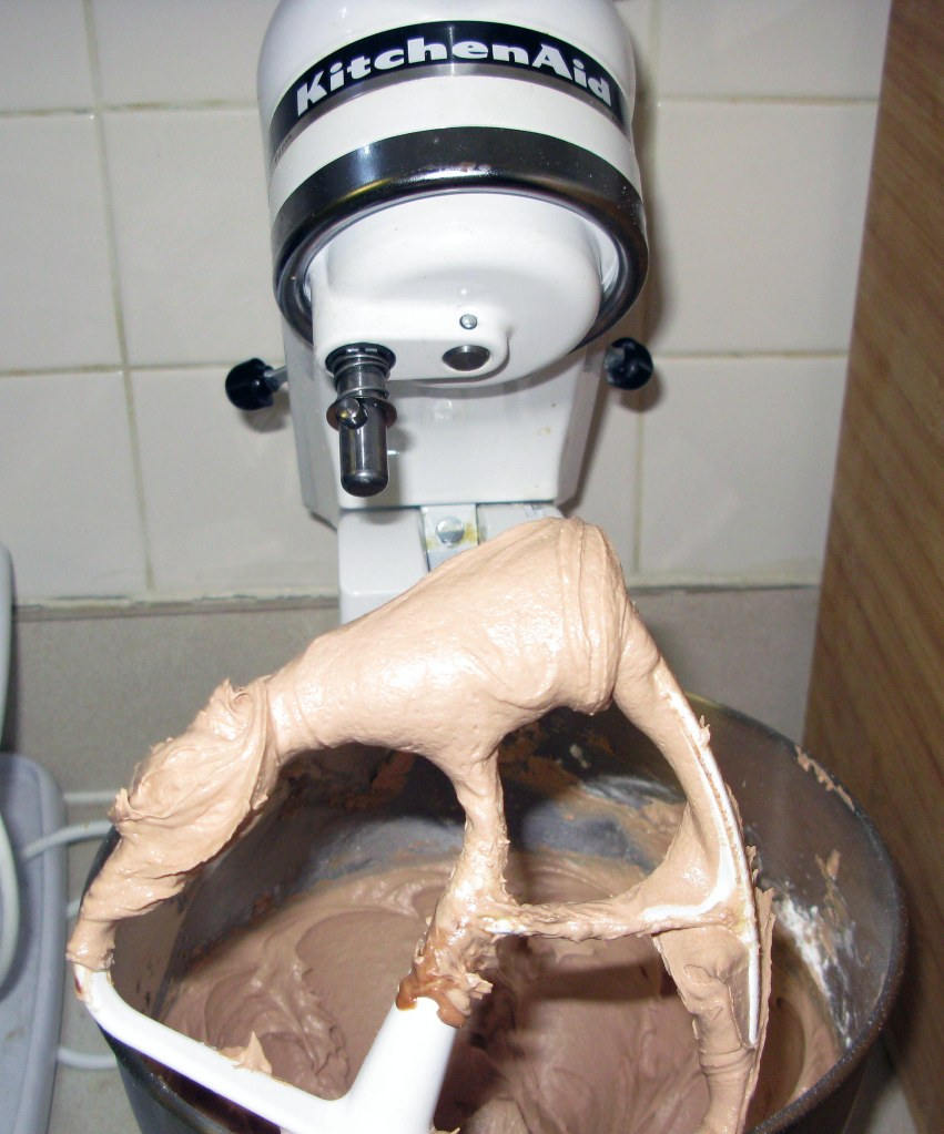 Milk Chocolate Frosting Standing Up on Beater