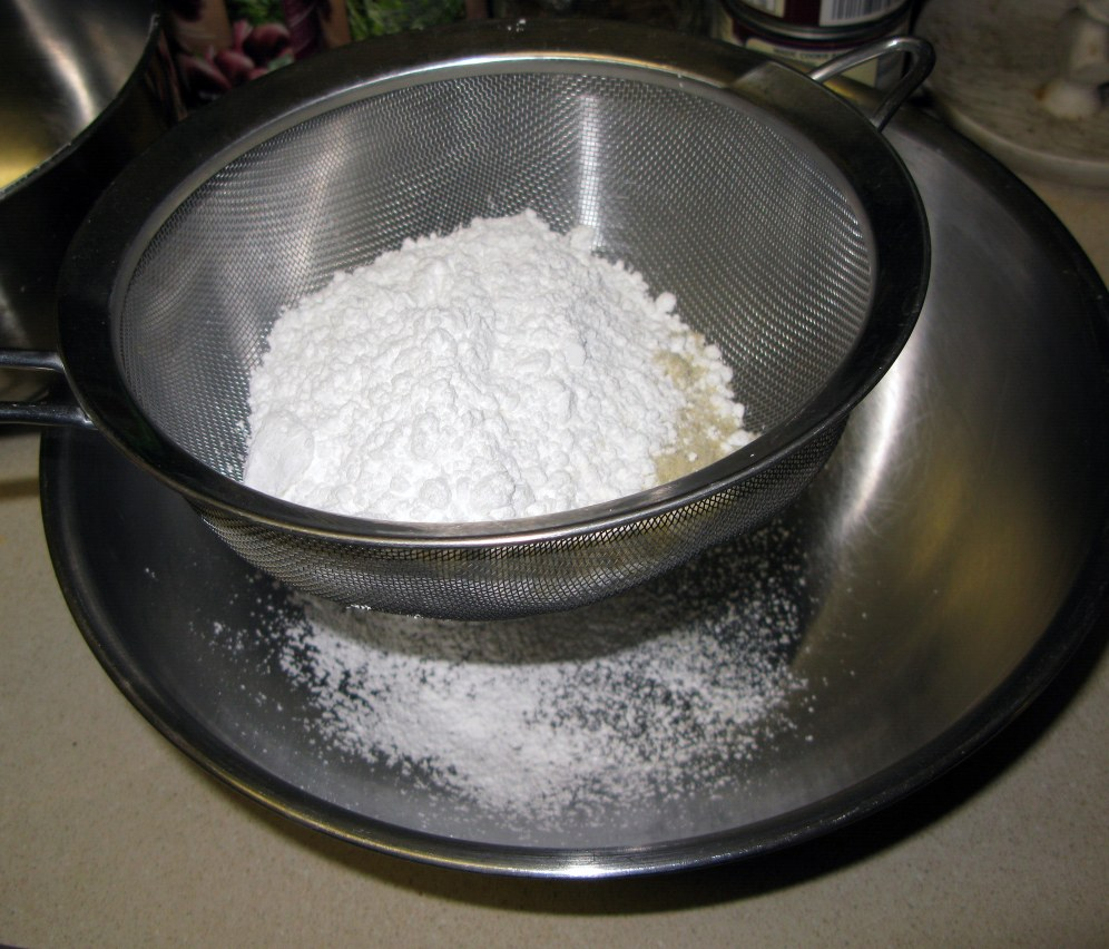 Sifting Almond Flour and Sugar