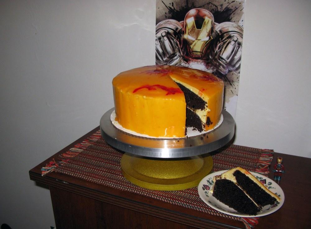 Iron Man's Mandarin Orange Chocolate Cake Slice