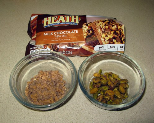 Measured Heath Bar Pieces and Pistachios